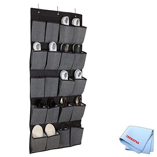 20 Pocket Hanging Shoe Organizer Caddy In Grey Black