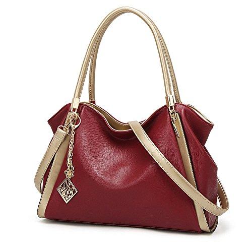 Pu Leather Top Handle Tote Bag Women Handbag Designer Handbag Oversize Shoulder Bag Red Wind