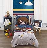 Harry Potter Wizards in Training Navy & Grey 4Piece Toddler Bed Set - Comforter, Fitted Sheet, Flat Sheet, Reversible Standard Size Pillowcase, Navy, Grey, Burgundy, Orange
