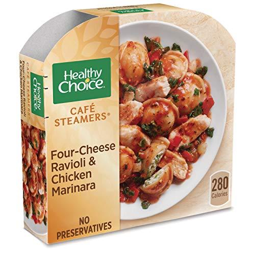 Healthy Choice Cafe Steamers Frozen Dinner, Four Cheese Ravioli & Chicken Marinara, 10 -