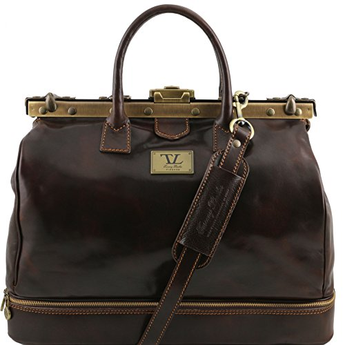 Tuscany Leather Barcellona Double-bottom Gladstone Leather Bag Dark Brown by Tuscany Leather