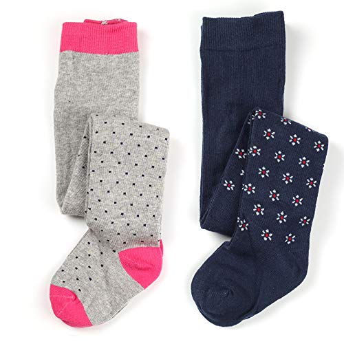 Little Baby Girls Fashion Cotton Knit Legging Tight 2 pack (Spots & Flowers, 6-12 months)