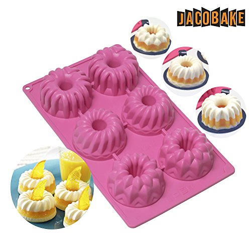 Jacobake 6-Cavity Silicone Mold Baking Decorating Tools for Bundt Cake Mousse Cake - Nonstick & Easy Release - BPA free Food Grade Silicone -