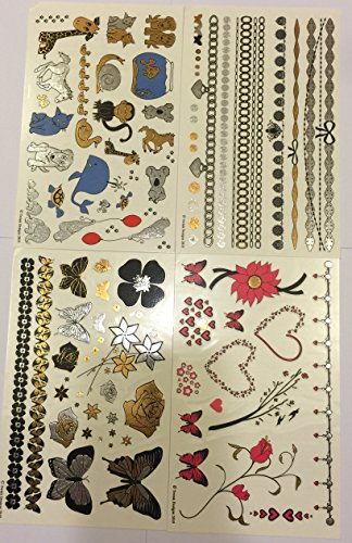 Twink Designs 4-Page Metallic Temporary Tattoos for Girl Kid, 92 Individual Tattoos (Egyptian Girl Sexy)