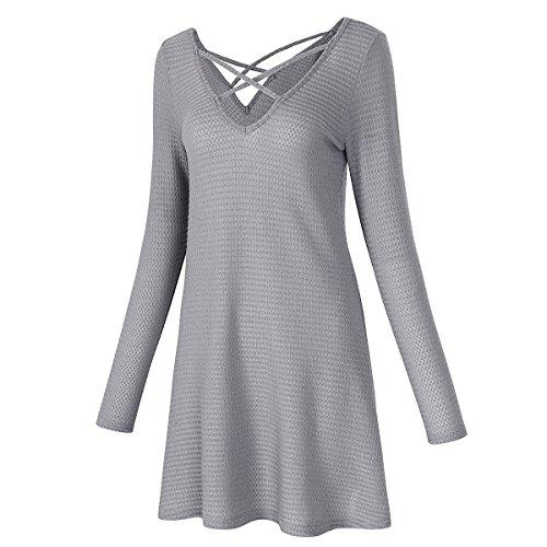 en Cuello Vestido Puro en Sexy con Color en Grey tamaño Hvzciuwrn Profundo Mujer V línea en Falda de Cuello con v Corta Escote Color S V xzCfXpwv