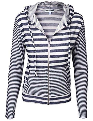 - makeitmint Women's Basic Comfy Zip up Stripe Long Sleeve Hoodie Jacket Small Navy