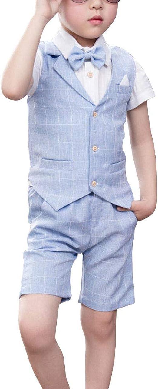 Shengwan 4 Stück Kinder Junge Anzug Sommer Hochzeit Anzüge