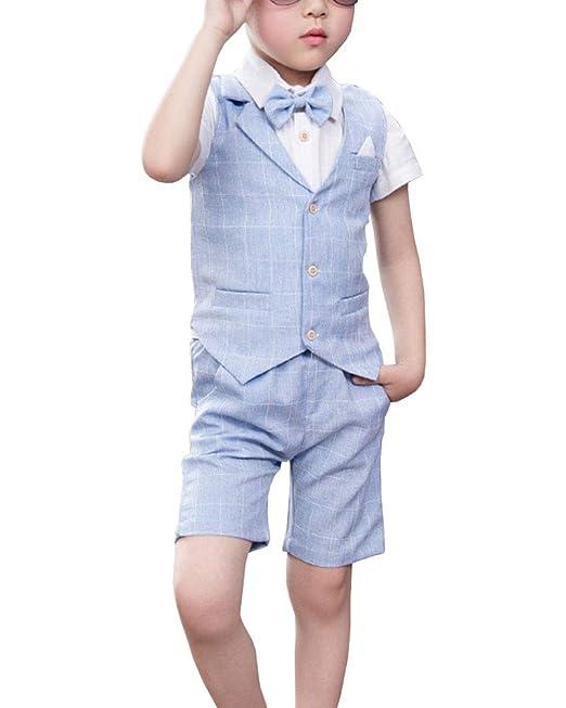 4 Piezas Traje Niño Boda, Verano Trajes de Ceremonia Chaleco + Camisas + Pantalones Cortos + Pajarita