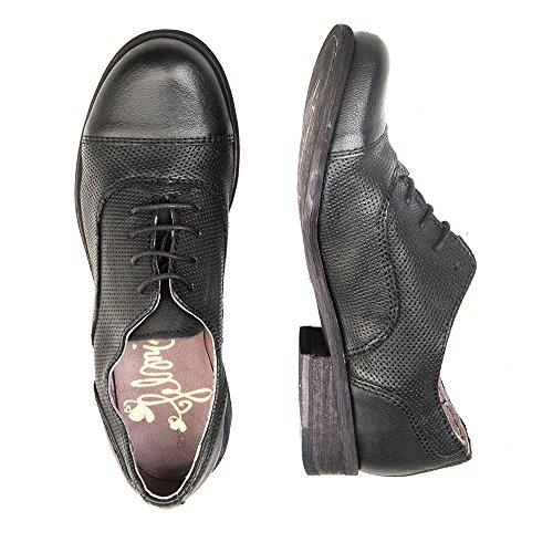 Felmini - Zapatos para Mujer - Enamorarse com Bomber 8453 - Zapatos con cordones - Cuero Genuino - Negro - 0 EU Size Negro