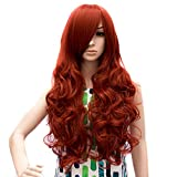 ICOSER 80cm Long Curly Hair Wigs Synthetic Hairpieces for Women (Red)