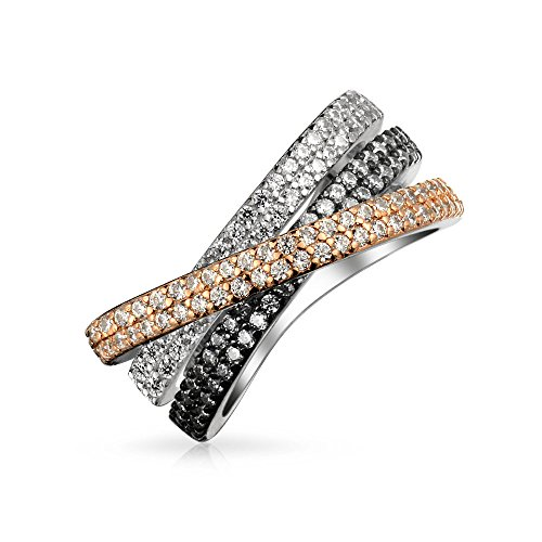 Bling Jewelry Tri Color Crossover Fashion Criss Cross Black White Pink Pave AAA CZ Statement Band Ring for Women Sliver Plated Brass