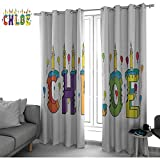 bybyhome Chloe Insulating Room Darkening Blackout Drapes for Bedroom Lettering with Cheerful Bitten Cake Candles Girly Birthday Party Design First Name Curtains Multicolor W84 x L108 Inch