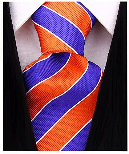 Logo Ties Silk Necktie (College Striped Ties for Men - Woven Necktie - Orange w/Purple)