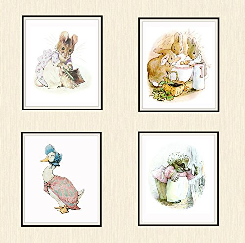 Set of 4 Beatrix Potter Print Reproductions, Unframed Peter Rabbit and Friends, Jemima Puddle Duck, Mrs. Mouse, Mrs. Tiggy Winkle and Bunnies Nursery Baby Prints, Shower Gift 8 x 10