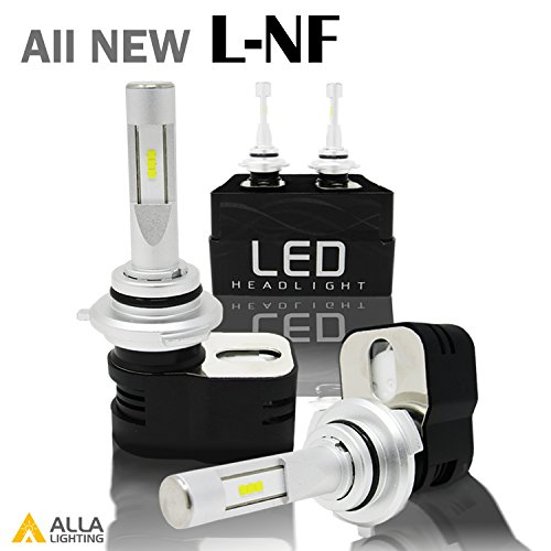 Alla Lighting 8400 Lumens Extremely Super Bright 6000K Xenon White High Power Mini 9012 HIR2 LED Headlight Bulbs Conversion Kits Headlamps with Turbine Heating - 2 Years Warranty
