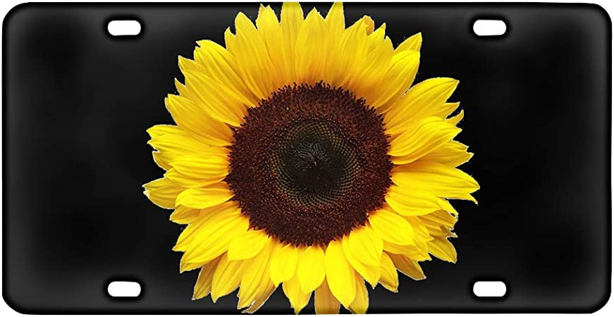 nonbrand Sunflower Car Front License Plate with 4 Holes Metal License Novelty Tag