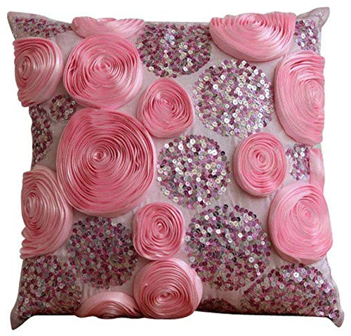 The HomeCentric Handmade Pink Designer Pillow Covers 16x16 inch, Silk Throw Pillows for Couch, Nature & Floral, Roses, Ribbon Embroidery, Modern Cushion Coverwith Zipper - Sweet Kisses