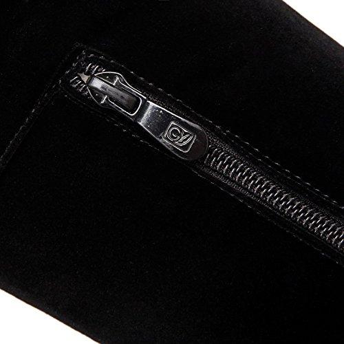 AgooLar Women's Imitated?Suede High-top Solid Zipper High-Heels Boots Black mLPYC