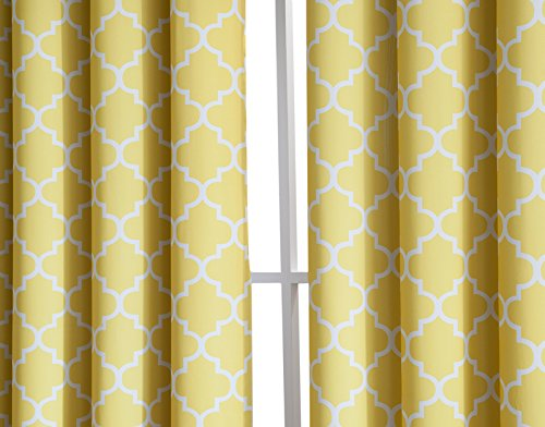 "HLC.ME Lattice Print Thermal Grommet Blackout Window Treatment Valance - Bright Yellow - 52"" W x 18"" L"