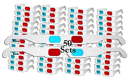 - Jtshy 50 Pairs - FLAT- 3D Glasses Red and Cyan WHITE Frame Anaglyph Cardboard
