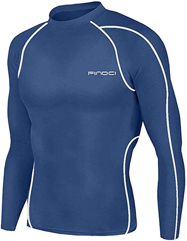 Findci Men Compression Tops Tight Trousers Long Sleeve Shirts Long Pants Suits New Blue White, 2XL