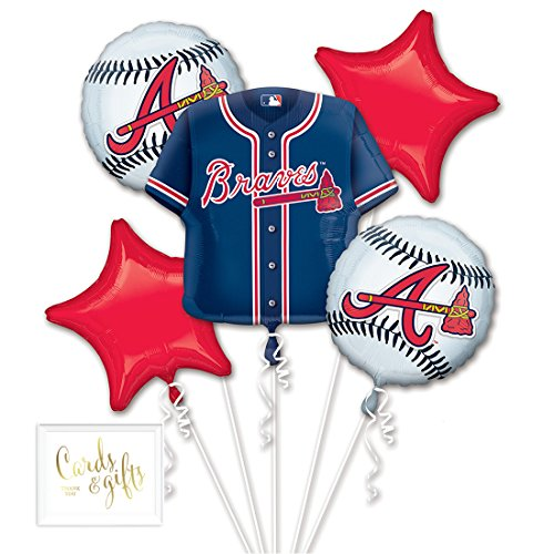 Andaz Press Balloon Bouquet Party Kit with Gold Cards & Gifts Sign, Atlanta Braves MLB Baseball Themed Foil Mylar Balloon World Series Decorations, 1-Set -