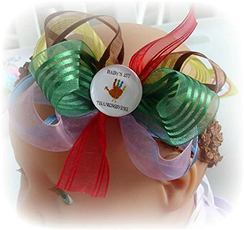 Little Girl Tutu Scarecrow Costume (BABY'S 1ST THANKSGIVING HAIR BOW INFANT TODDLER LITTLE GIRLS HAIRBOWS YELLOW RED BROWN BLUE PINK GREEN)
