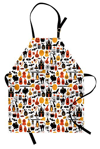 Lunarable Halloween Apron, Halloween Icons Group Candies Owls Castles Ghosts October 31 Theme, Unisex Kitchen Bib Apron with Adjustable Neck for Cooking Baking Gardening, Orange Yellow]()