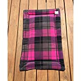 Pink Plaid Dog Crate Pad Cat Mat Puppy Bedding Kennel Medium Pet Bed Fits 24x36 Crate Washable