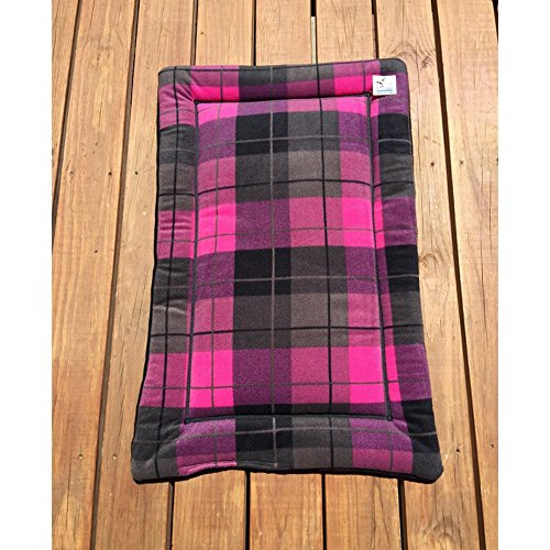 Pink Plaid Dog Crate Pad Cat Mat Puppy Bedding Kennel Medium Pet Bed Fits 24x36 Crate Washable by Comfy Pet Pads