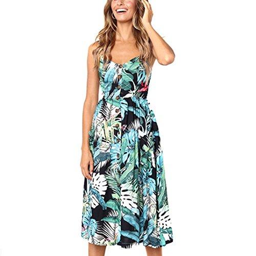 Vestidos Mujer Casual,Mujeres Vacaciones Rayas Damas Verano Playa Botones Vestido de Fiesta LMMVP G
