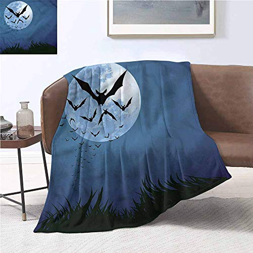 DILITECK Soft Blanket Halloween Cloud of Bats Flying Lightweight Thermal Blankets W54 xL72 Traveling,Hiking,Camping,Full Queen,TV,Cabin]()