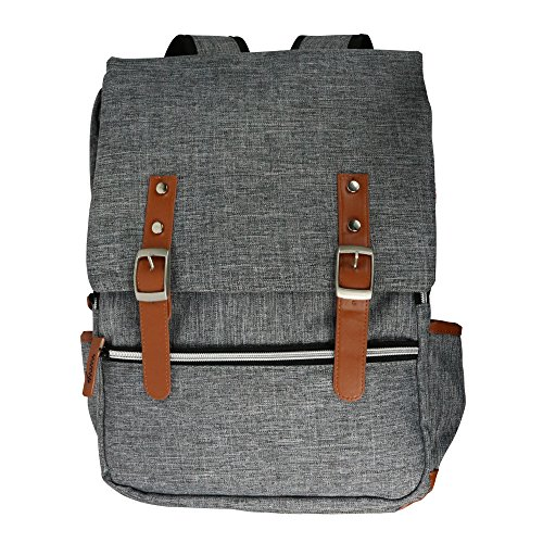 Laptop Backpack - 15.6 Inch Computer Bag Waterproof, Canvas Rucksack w/USB Charging Port and a Secret Safety Pocket Slim, Retro Style 4 Men & Women for Office or School. Classic Grey