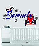 Custom Name Transportation Theme - F1 Racecar - Baby Boy / Girl - Wall Decal Nursery For Home Bedroom Children (559) (Wide 40