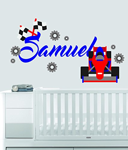 Custom Name Transportation Theme - F1 Racecar - Baby Boy / Girl - Wall Decal Nursery For Home Bedroom Children (559) (Wide 30