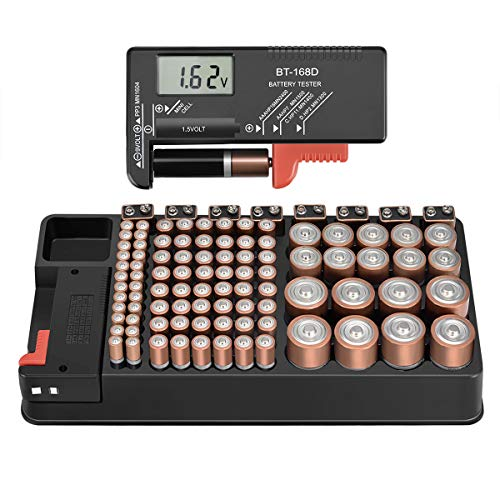 The Battery Storage Organizer Case and Battery Tester, Holds 110 Batteries Various Sizes for AAA, AA, 9V, C, D and Button Battery by Anlizn