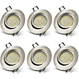 YWX 6X LED Recessed Ceiling Lights,Ultra Slim 230V 5W Dimmable 450Lm Natural White 4000K IP44 Swivel Mounted Adjustable Led Recessed Downlights Spotlight for Living Room Bedroom