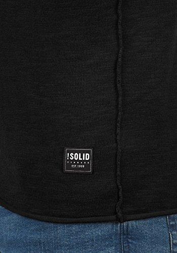 Redondo Suéter Hombre Jersey De solid Black Krimmich Algodón Cuello 9000 Con 100 Punto Para qxZq4w