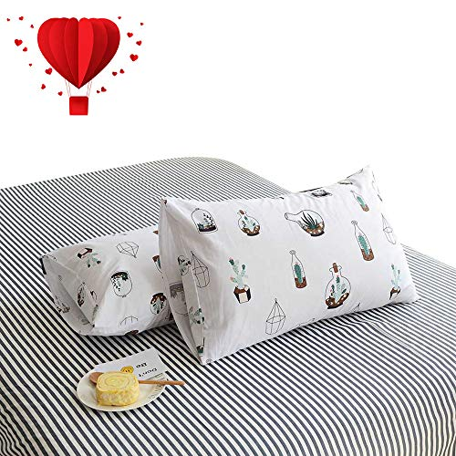 BuLuTu Cotton Deep Pocket Striped Print Fitted Bed Sheet Twin Only 1 Piece-Breathable, Premium,Durable and Comfortable,Single Fitted Sheet Without Pillowcases (Print Cotton Sheet Bed)