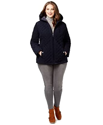 Laundry By Design Plus Size Faux Fur Lined Quilted Velour Anorak