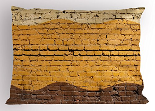 Ambesonne Tan and Brown Pillow Sham, Urban Architecture Weathered Old Brick Wall Different Colored Waves, Decorative Standard Size Printed Pillowcase, 26 X 20 Inches, Yellow Beige Brown