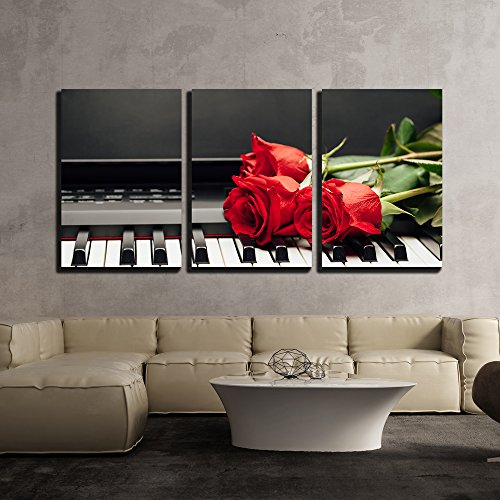 Postcards Framed Art Wall Decor - wall26 - 3 Piece Canvas Wall Art - Piano Keys and Red Rose with Copy-Space - Modern Home Decor Stretched and Framed Ready to Hang - 16