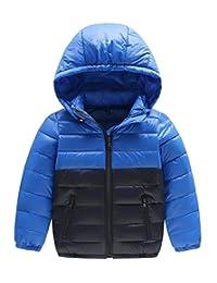 Happy Cherry Kids Boys Thin Down Outwear Slant Pockets Hoodie Coats 7-8T Deep Blue