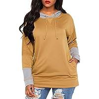 GOSOPIN Women Knit Hoodie Long Sleeve Top Pullover Sweatshirt with Pockets