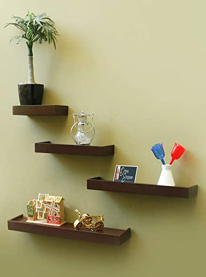 65cc8d53de1 Onlineshoppee Beautiful Wooden Rectangular Wall Shelf Set of 4 - Brown   Amazon.in  Home   Kitchen