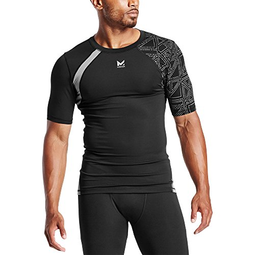 Mission X Wade Collection Men's Flash Short Sleeve Compression Shirt, Flash Black, X-Large (The Flash Sports Shirt)