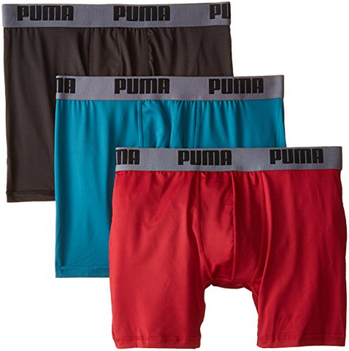 PUMA Men's 3 Pack Boxer Brief, Red/Grey/Teal, X-Large from PUMA