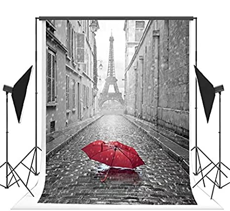 5x7ft Rain Red Umbrella Paris Eiffel Tower Photography Backdrop No Crease  Background FT0441