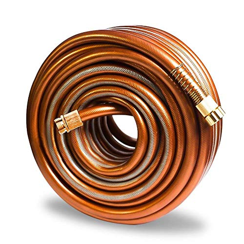 Greenbest Garden/Farm/Water Hose, Heavy Duty Kink Free, for Watering Lawn, Yard, Garden, Car Washing, Pet and Home Cleaning. 5/8 inch x 25, 50, 75 and 100 ft (Color: Coffee Gold, 25FT)