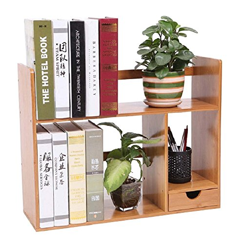 LIMAM Versatile Tabletop Book Rack Desktop Bookshelves Natural Nan Bamboo Wood Freestanding Book Shelf Storage Station Office Bookshelf For Books Magazine And More(Double -Deck and Two Drawer) (Book Tabletop)